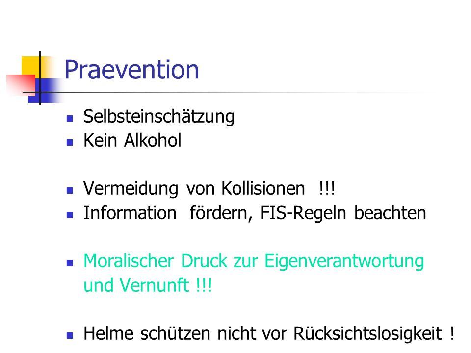 Praevention Selbsteinschätzung Kein Alkohol Vermeidung von Kollisionen !!! Information fördern, FIS-Regeln beachten Moralischer Druck zur Eigenverantw