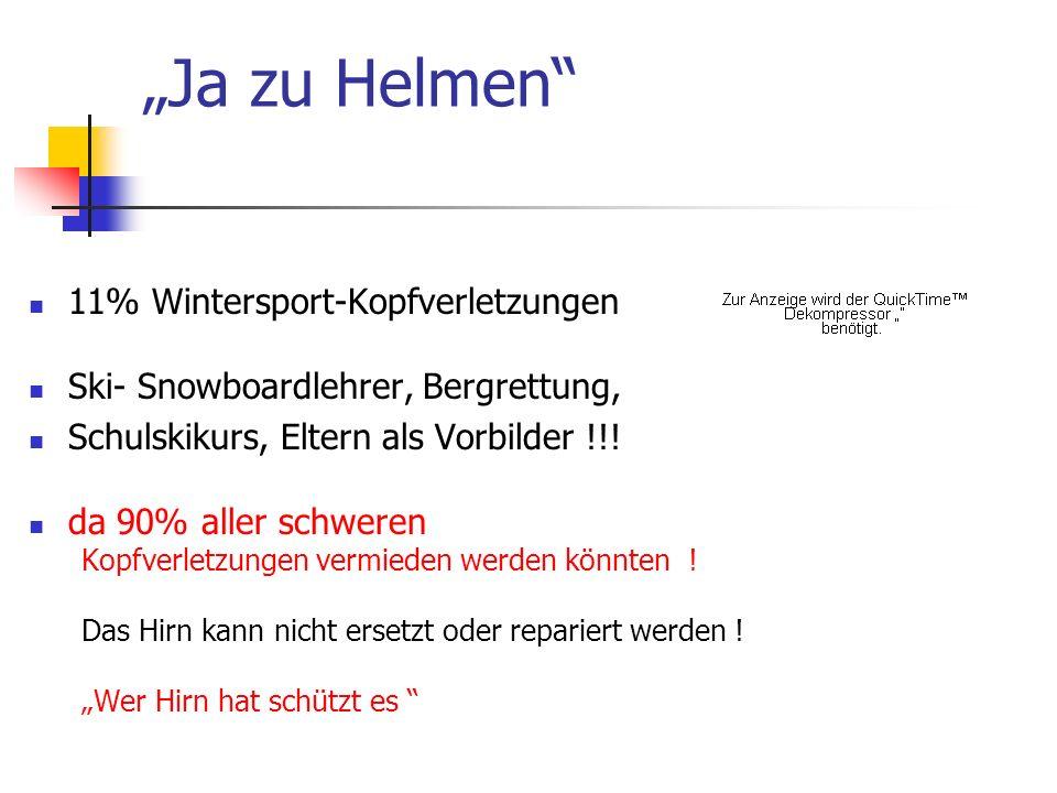 Ja zu Helmen 11% Wintersport-Kopfverletzungen Ski- Snowboardlehrer, Bergrettung, Schulskikurs, Eltern als Vorbilder !!! da 90% aller schweren Kopfverl