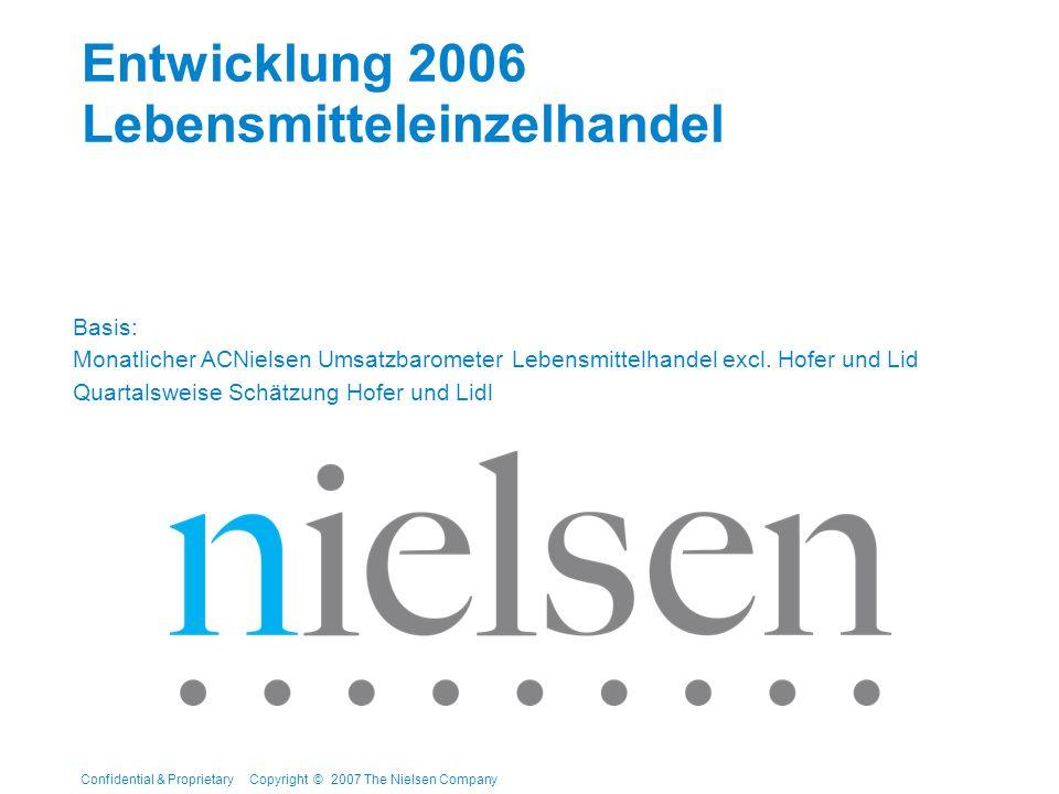 Confidential & Proprietary Copyright © 2007 The Nielsen Company Entwicklung 2006 Lebensmitteleinzelhandel Basis: Monatlicher ACNielsen Umsatzbarometer Lebensmittelhandel excl.
