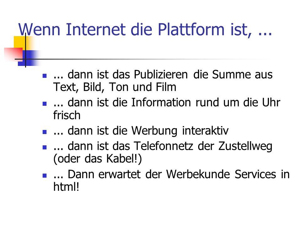 Wenn Internet die Plattform ist,...... dann ist das Publizieren die Summe aus Text, Bild, Ton und Film... dann ist die Information rund um die Uhr fri