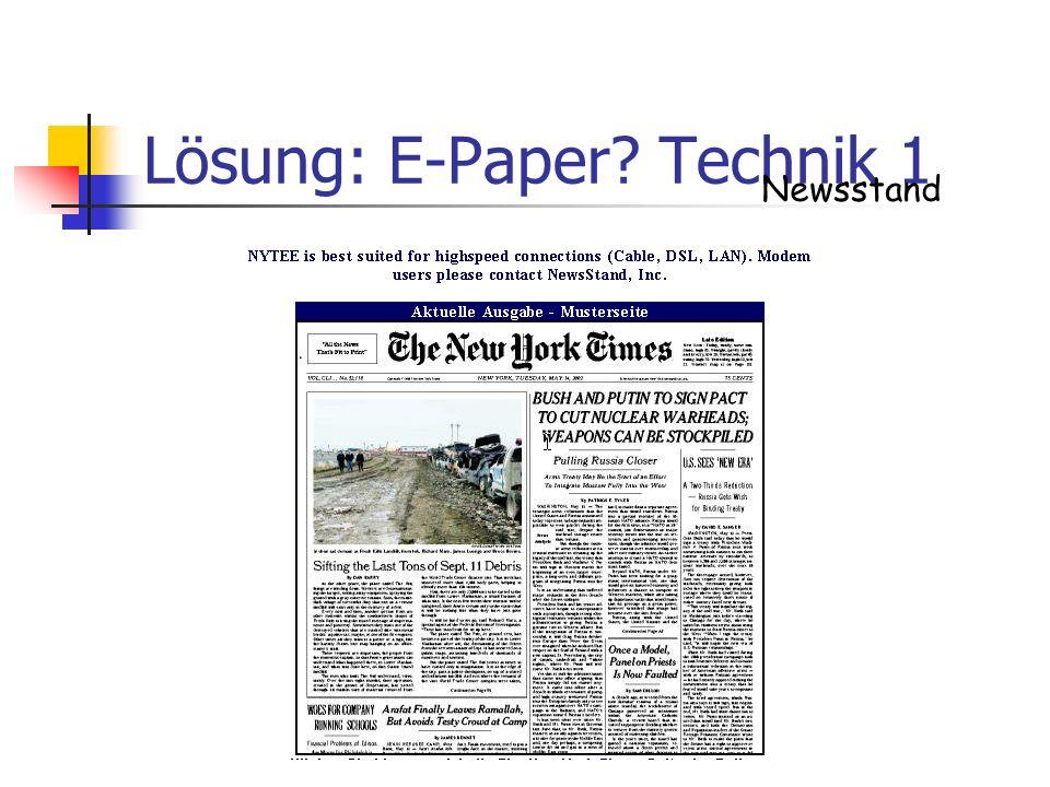 Lösung: E-Paper? Technik 1 Newsstand