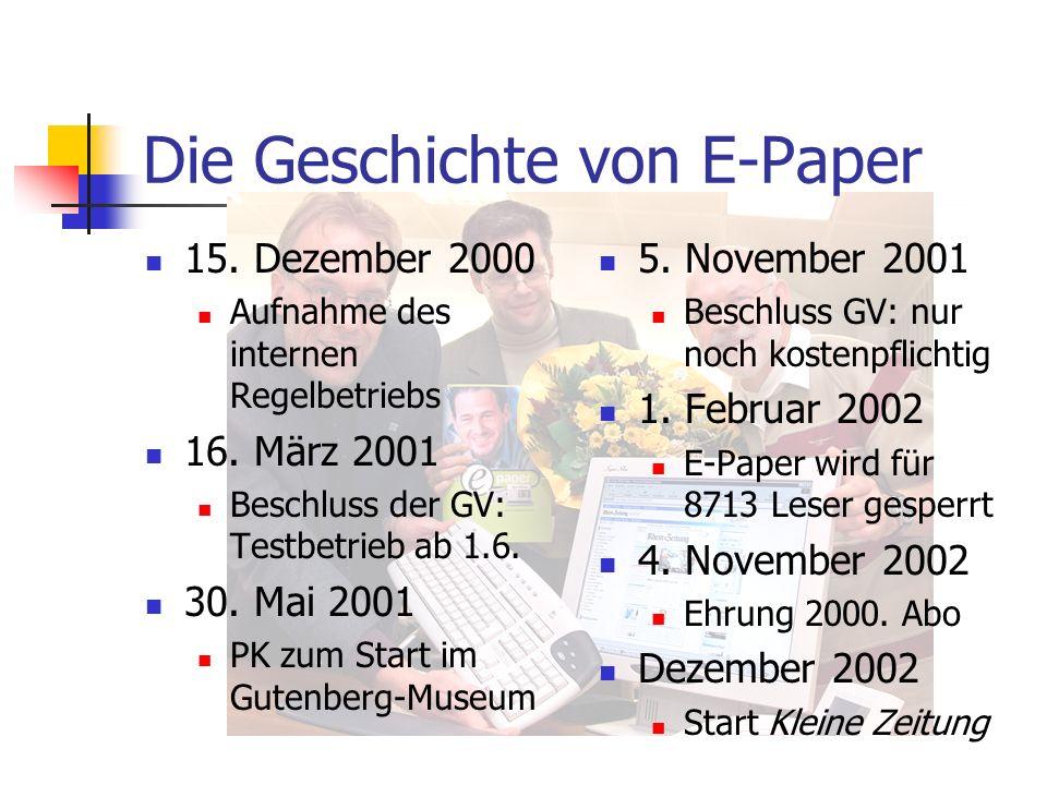 Die Geschichte von E-Paper 15. Dezember 2000 Aufnahme des internen Regelbetriebs 16. März 2001 Beschluss der GV: Testbetrieb ab 1.6. 30. Mai 2001 PK z