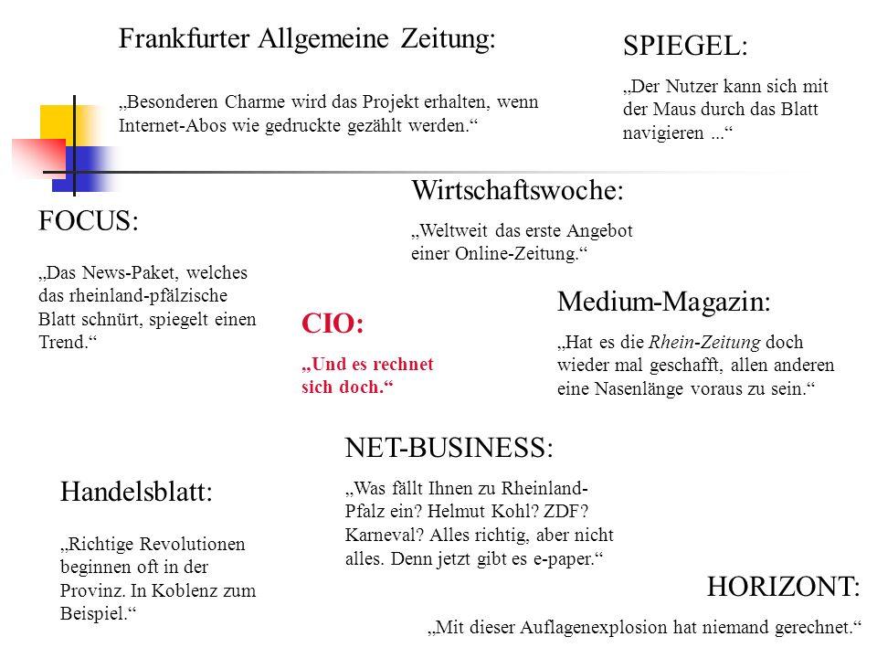 Frankfurter Allgemeine Zeitung: Besonderen Charme wird das Projekt erhalten, wenn Internet-Abos wie gedruckte gezählt werden. FOCUS: Das News-Paket, w