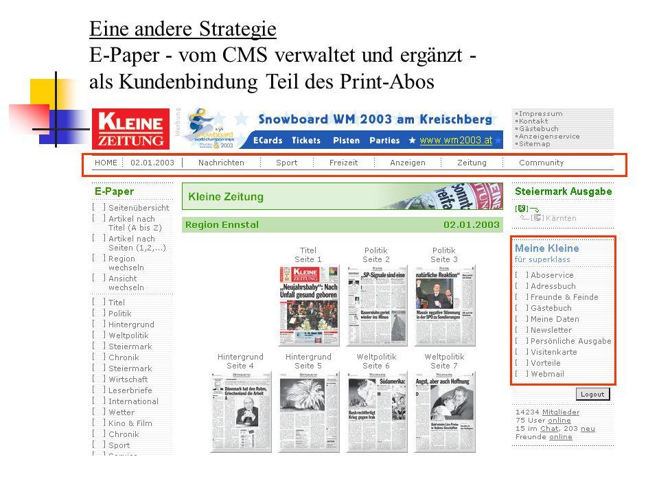 Eine andere Strategie E-Paper - vom CMS verwaltet und ergänzt - als Kundenbindung Teil des Print-Abos