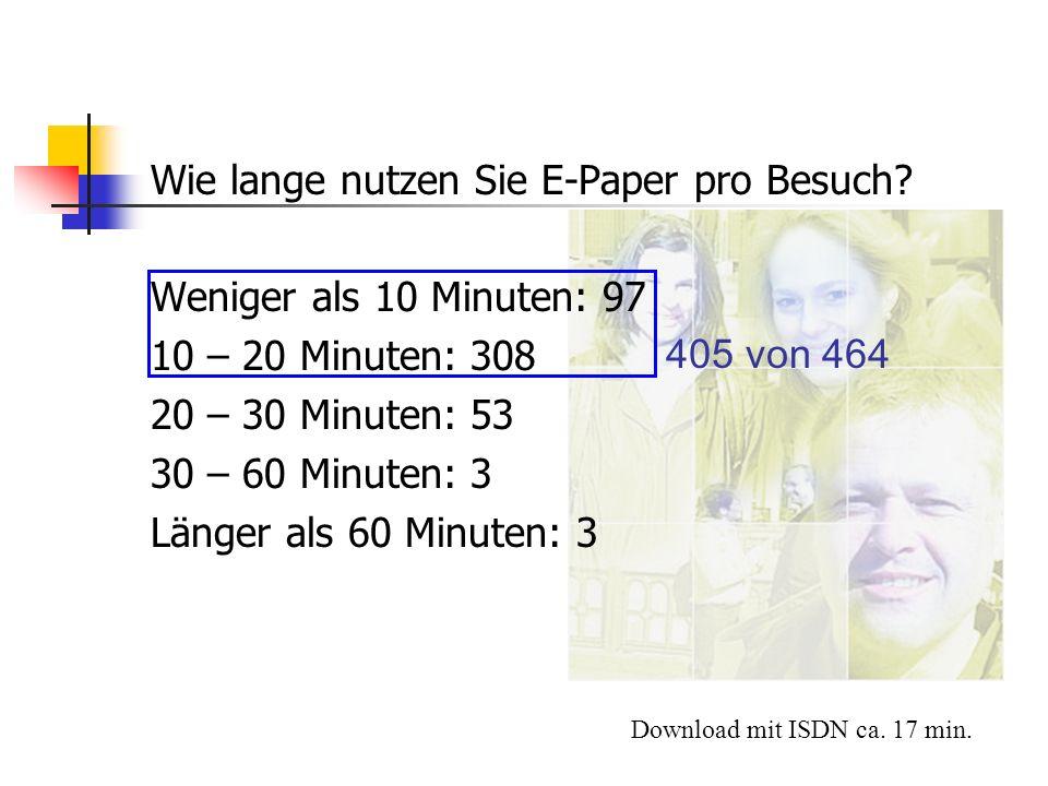 Wie lange nutzen Sie E-Paper pro Besuch? Weniger als 10 Minuten: 97 10 – 20 Minuten: 308 20 – 30 Minuten: 53 30 – 60 Minuten: 3 Länger als 60 Minuten: