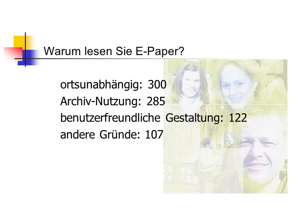 ortsunabhängig: 300 Archiv-Nutzung: 285 benutzerfreundliche Gestaltung: 122 andere Gründe: 107 Warum lesen Sie E-Paper?