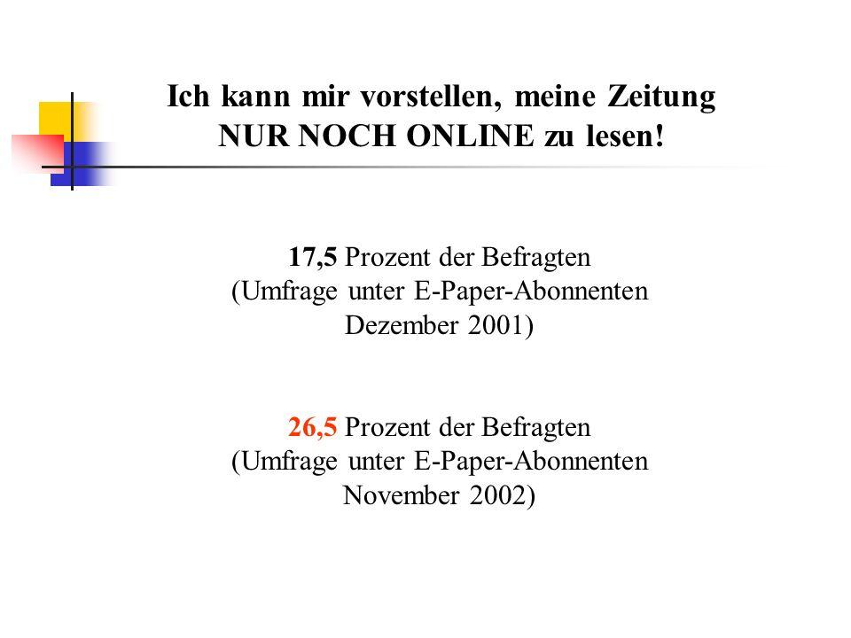 Ich kann mir vorstellen, meine Zeitung NUR NOCH ONLINE zu lesen! 17,5 Prozent der Befragten (Umfrage unter E-Paper-Abonnenten Dezember 2001) 26,5 Proz