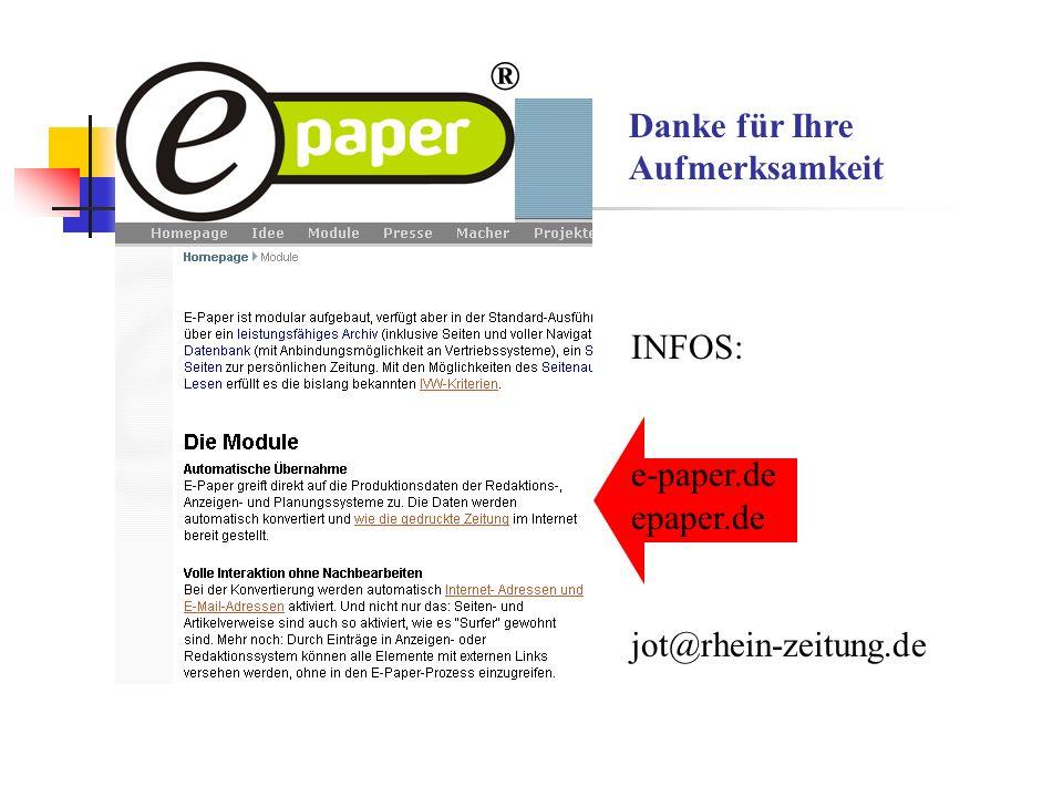 Danke für Ihre Aufmerksamkeit INFOS: e-paper.de epaper.de jot@rhein-zeitung.de ®