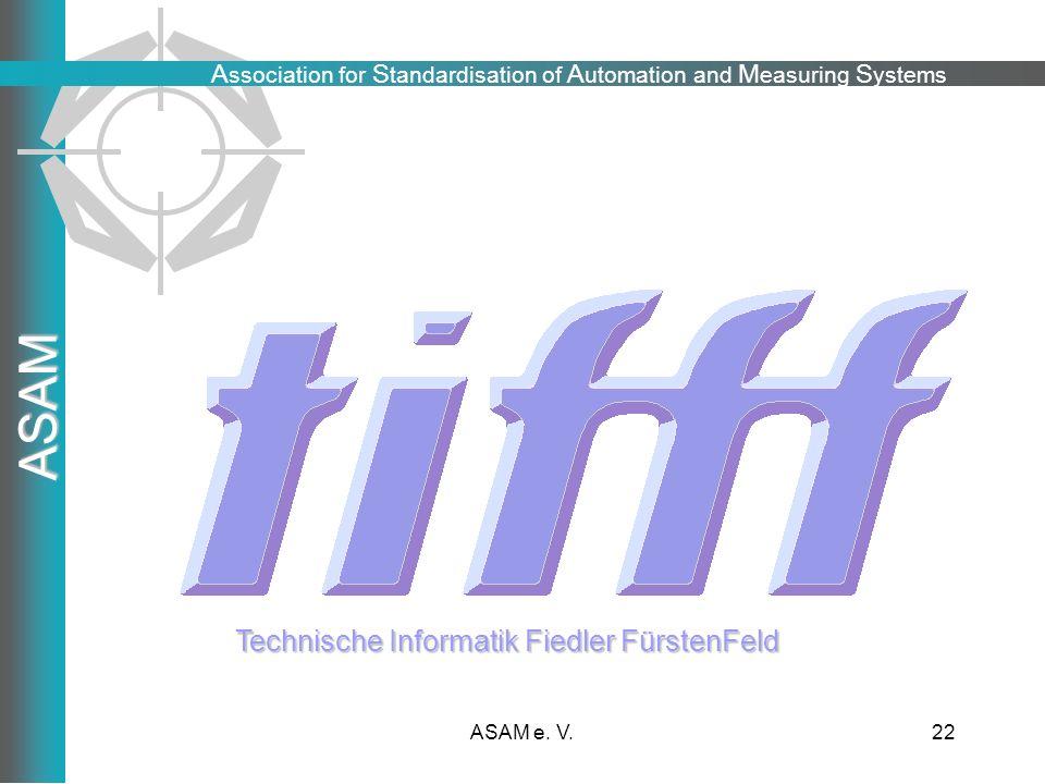 A ssociation for S tandardisation of A utomation and M easuring S ystems ASAM ASAM e. V.22 Danke für Ihre Aufmerksamkeit Technische Informatik Fiedler