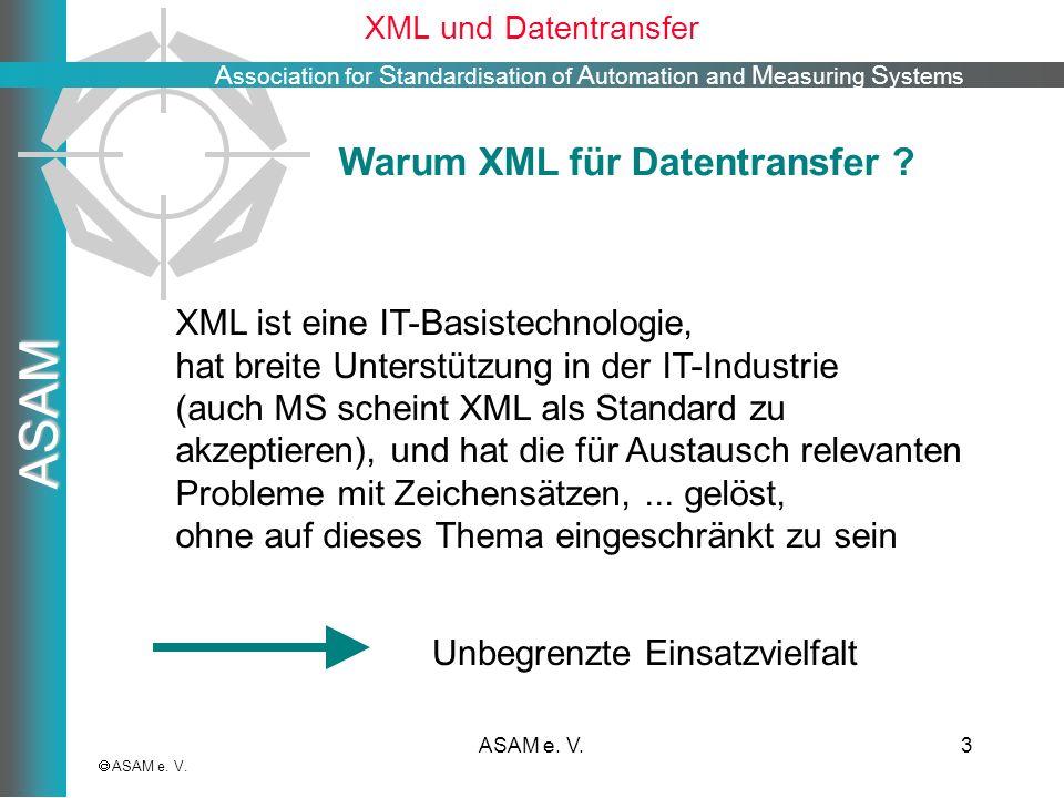 A ssociation for S tandardisation of A utomation and M easuring S ystems ASAM ASAM e. V.3 XML und Datentransfer ASAM e. V. XML ist eine IT-Basistechno