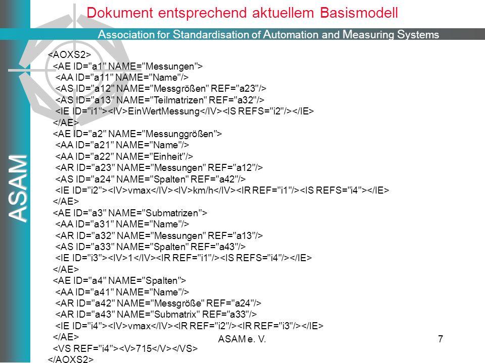 A ssociation for S tandardisation of A utomation and M easuring S ystems ASAM ASAM e. V.7 Dokument entsprechend aktuellem Basismodell EinWertMessung v
