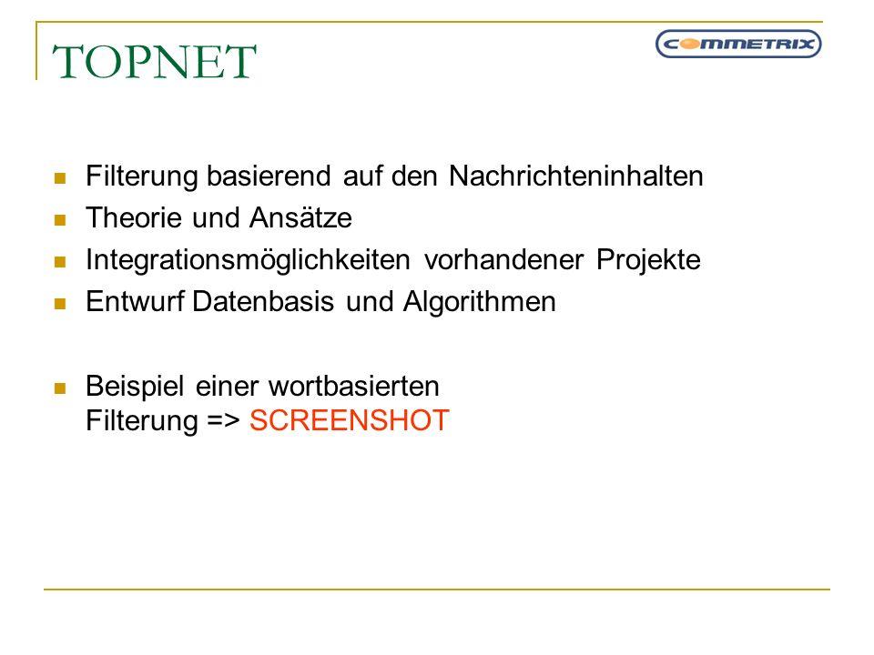 TOPNET Filterung basierend auf den Nachrichteninhalten Theorie und Ansätze Integrationsmöglichkeiten vorhandener Projekte Entwurf Datenbasis und Algor