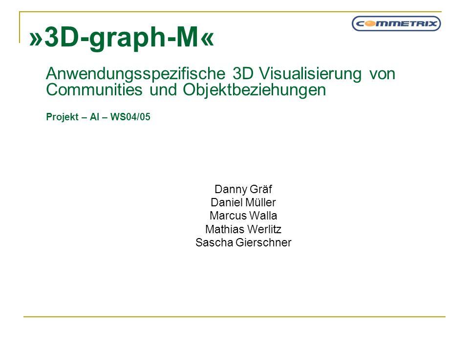 »3D-graph-M« Anwendungsspezifische 3D Visualisierung von Communities und Objektbeziehungen Projekt – AI – WS04/05 Danny Gräf Daniel Müller Marcus Wall