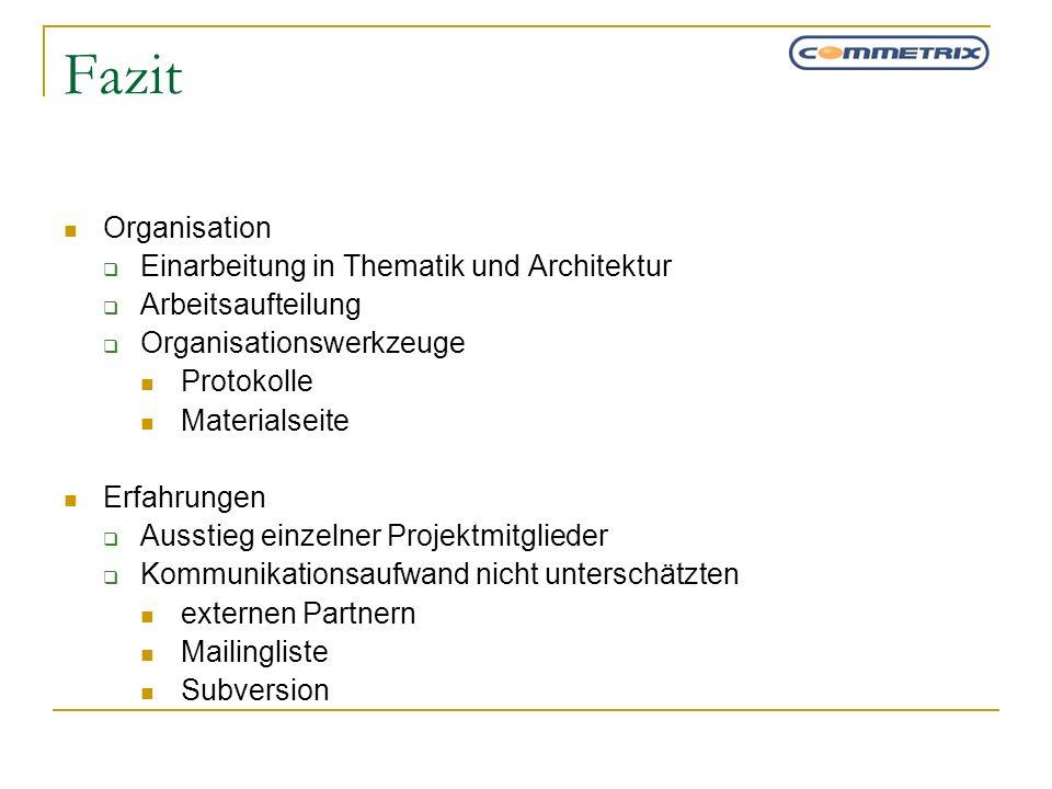 Fazit Organisation Einarbeitung in Thematik und Architektur Arbeitsaufteilung Organisationswerkzeuge Protokolle Materialseite Erfahrungen Ausstieg ein