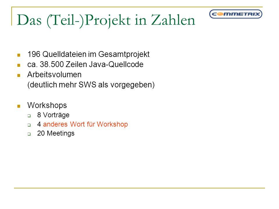 Das (Teil-)Projekt in Zahlen 196 Quelldateien im Gesamtprojekt ca. 38.500 Zeilen Java-Quellcode Arbeitsvolumen (deutlich mehr SWS als vorgegeben) Work