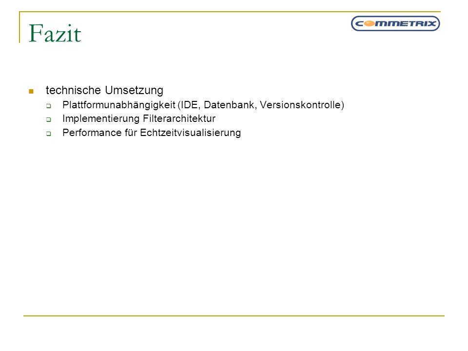 Fazit technische Umsetzung Plattformunabhängigkeit (IDE, Datenbank, Versionskontrolle) Implementierung Filterarchitektur Performance für Echtzeitvisua