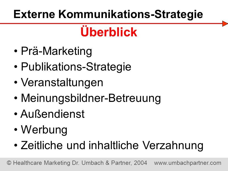 © Healthcare Marketing Dr. Umbach & Partner, 2004 www.umbachpartner.com Prä-Marketing Publikations-Strategie Veranstaltungen Meinungsbildner-Betreuung