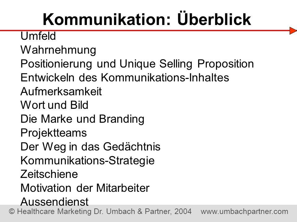 © Healthcare Marketing Dr. Umbach & Partner, 2004 www.umbachpartner.com Kommunikation: Überblick Umfeld Wahrnehmung Positionierung und Unique Selling