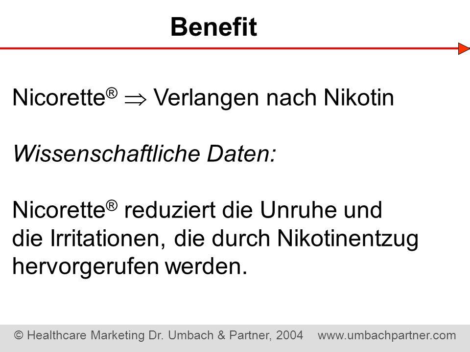 © Healthcare Marketing Dr. Umbach & Partner, 2004 www.umbachpartner.com Nicorette ® Verlangen nach Nikotin Wissenschaftliche Daten: Nicorette ® reduzi