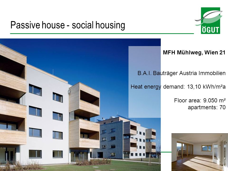 13 MFH Mühlweg, Wien 21 B.A.I. Bauträger Austria Immobilien Heat energy demand: 13,10 kWh/m²a Floor area: 9.050 m² apartments: 70 Passive house - soci
