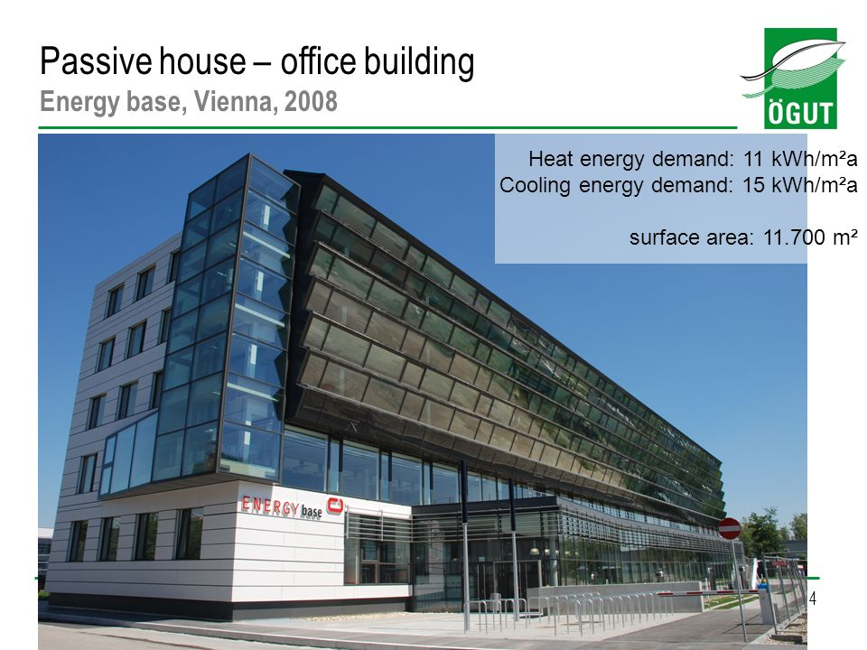 14 Passive house – office building Energy base, Vienna, 2008 Heat energy demand: 11 kWh/m²a Cooling energy demand: 15 kWh/m²a surface area: 11.700 m²