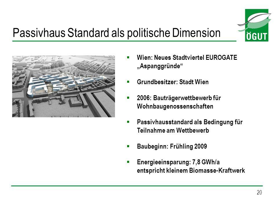 20 Wien: Neues Stadtviertel EUROGATE Aspanggründe Grundbesitzer: Stadt Wien 2006: Bauträgerwettbewerb für Wohnbaugenossenschaften Passivhausstandard a