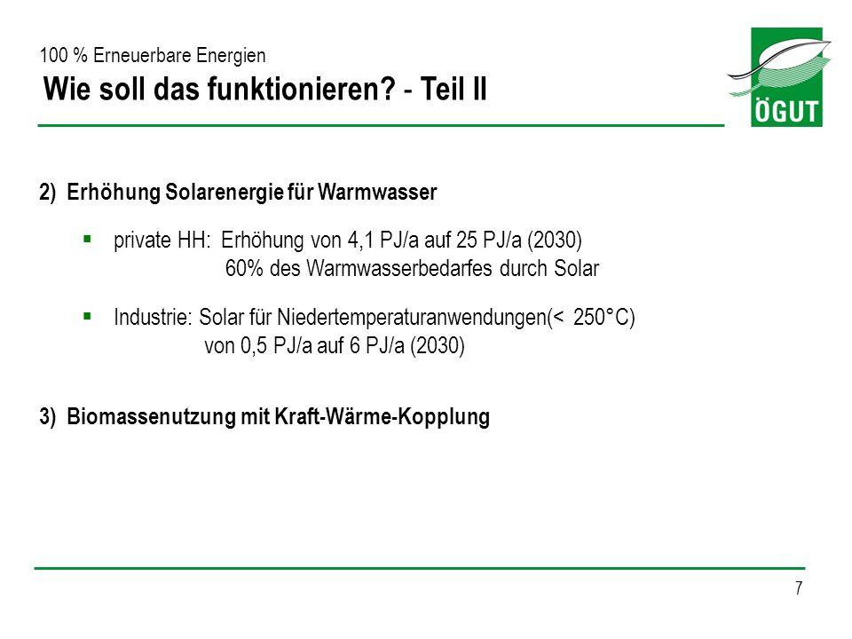 7 2) Erhöhung Solarenergie für Warmwasser private HH: Erhöhung von 4,1 PJ/a auf 25 PJ/a (2030) 60% des Warmwasserbedarfes durch Solar Industrie: Solar
