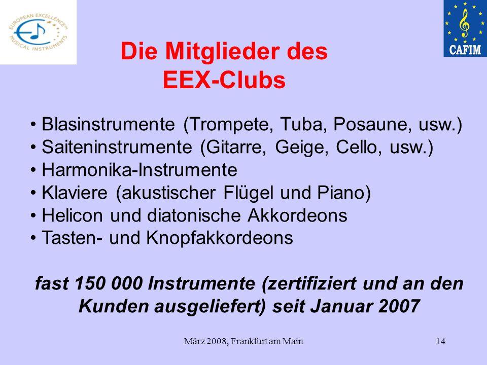 März 2008, Frankfurt am Main14 Blasinstrumente (Trompete, Tuba, Posaune, usw.) Saiteninstrumente (Gitarre, Geige, Cello, usw.) Harmonika-Instrumente K