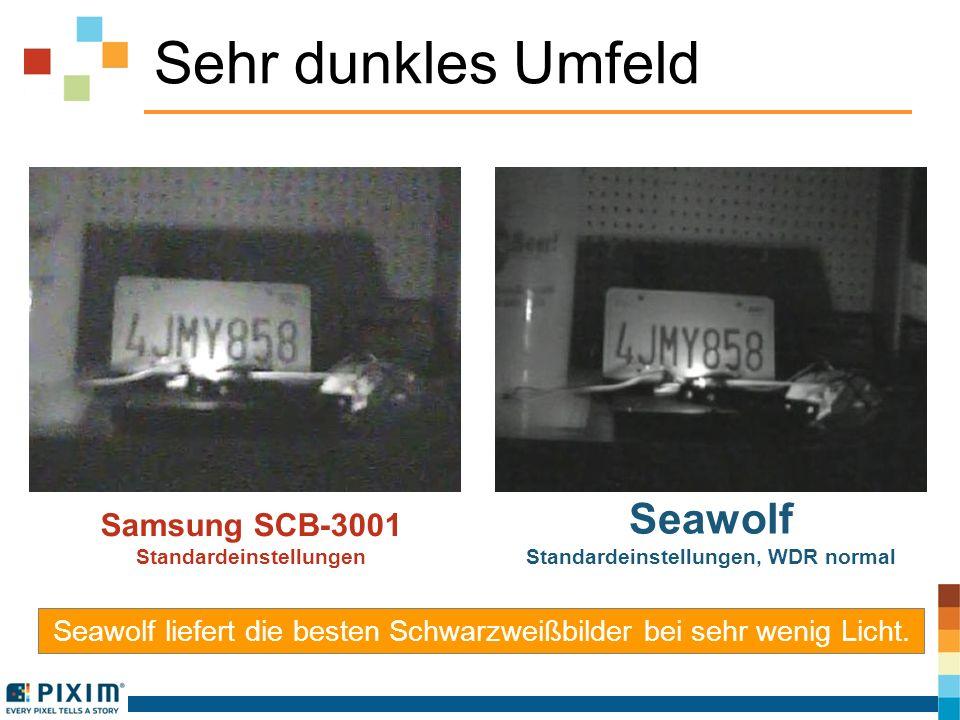 Sehr dunkles Umfeld Samsung SCB-3001 Standardeinstellungen Seawolf Standardeinstellungen, WDR normal Seawolf liefert die besten Schwarzweißbilder bei