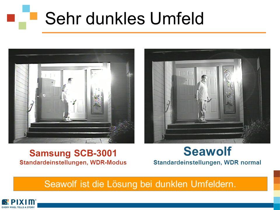 Sehr dunkles Umfeld Samsung SCB-3001 Standardeinstellungen, WDR-Modus Seawolf Standardeinstellungen, WDR normal Seawolf ist die Lösung bei dunklen Umf