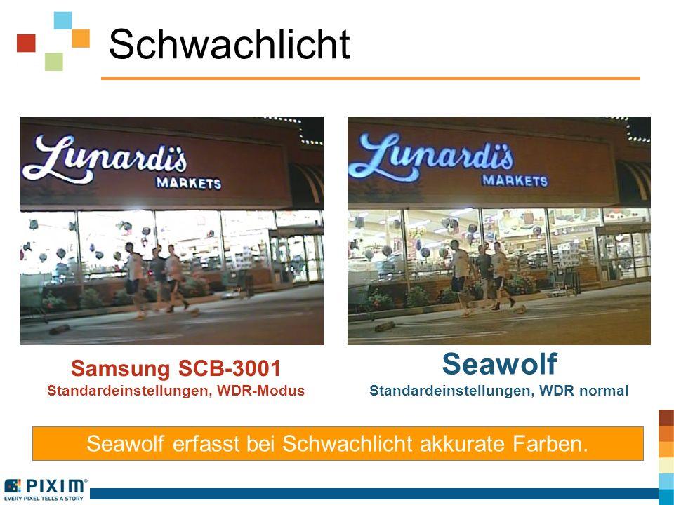 Schwachlicht Samsung SCB-3001 Standardeinstellungen, WDR-Modus Seawolf Standardeinstellungen, WDR normal Seawolf erfasst bei Schwachlicht akkurate Far
