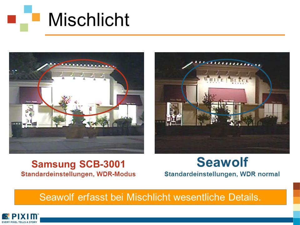 Mischlicht Samsung SCB-3001 Standardeinstellungen, WDR-Modus Seawolf Standardeinstellungen, WDR normal Seawolf erfasst bei Mischlicht wesentliche Deta