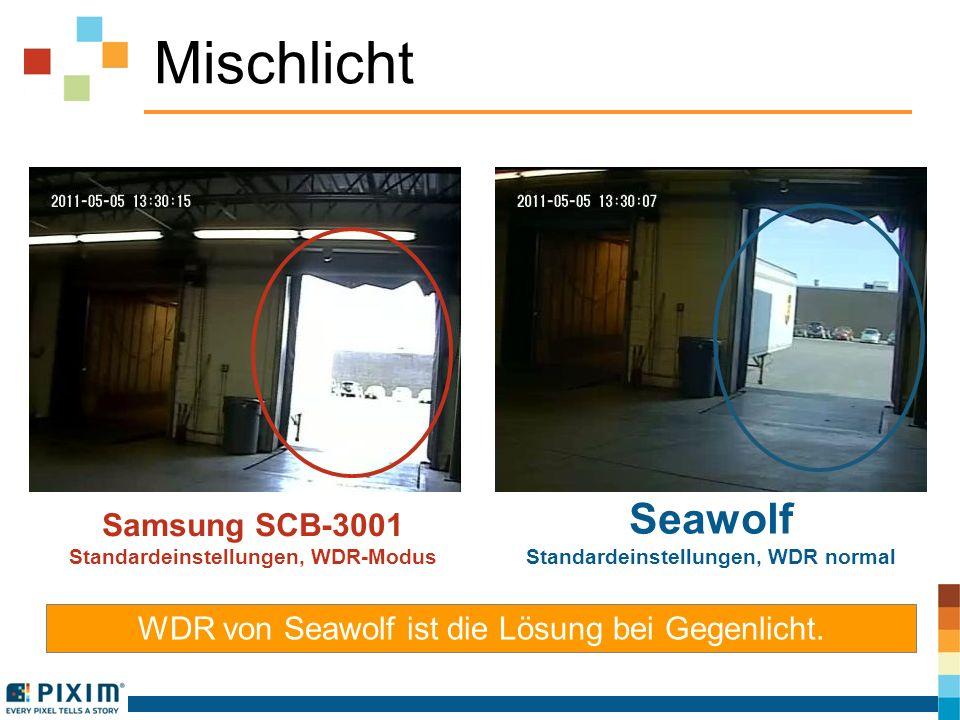 Mischlicht WDR von Seawolf ist die Lösung bei Gegenlicht. Samsung SCB-3001 Standardeinstellungen, WDR-Modus Seawolf Standardeinstellungen, WDR normal