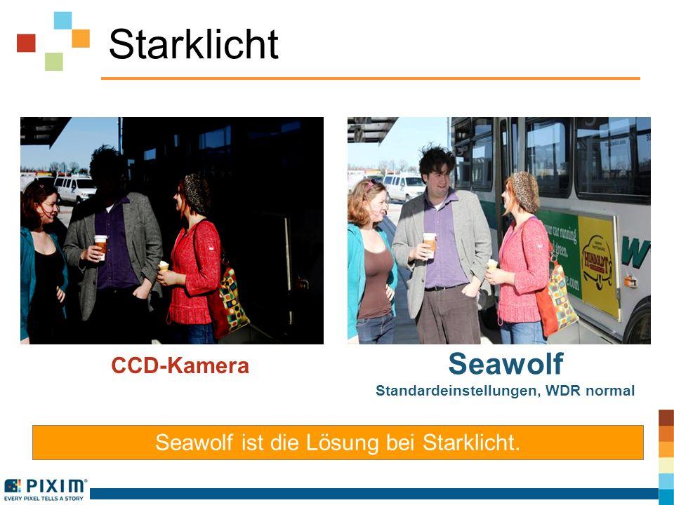 Starklicht Seawolf ist die Lösung bei Starklicht. CCD-Kamera Seawolf Standardeinstellungen, WDR normal