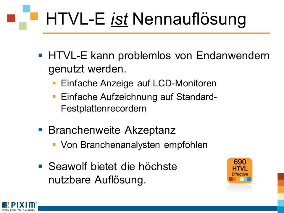 HTVL-E ist Nennauflösung HTVL-E kann problemlos von Endanwendern genutzt werden. Einfache Anzeige auf LCD-Monitoren Einfache Aufzeichnung auf Standard