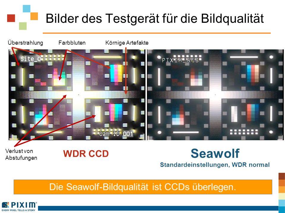 Bilder des Testgerät für die Bildqualität Die Seawolf-Bildqualität ist CCDs überlegen. WDR CCD Seawolf Standardeinstellungen, WDR normal Überstrahlung