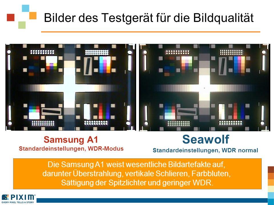 Bilder des Testgerät für die Bildqualität Die Samsung A1 weist wesentliche Bildartefakte auf, darunter Überstrahlung, vertikale Schlieren, Farbbluten,