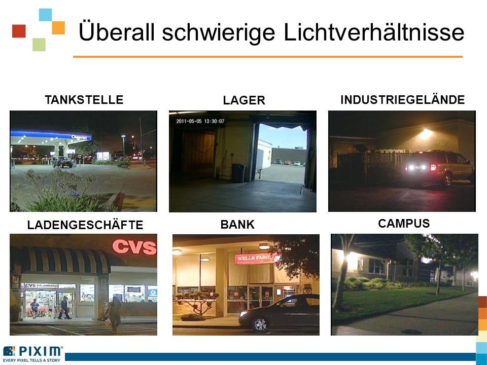 Überall schwierige Lichtverhältnisse TANKSTELLE INDUSTRIEGELÄNDE BANK LADENGESCHÄFTE LAGER CAMPUS