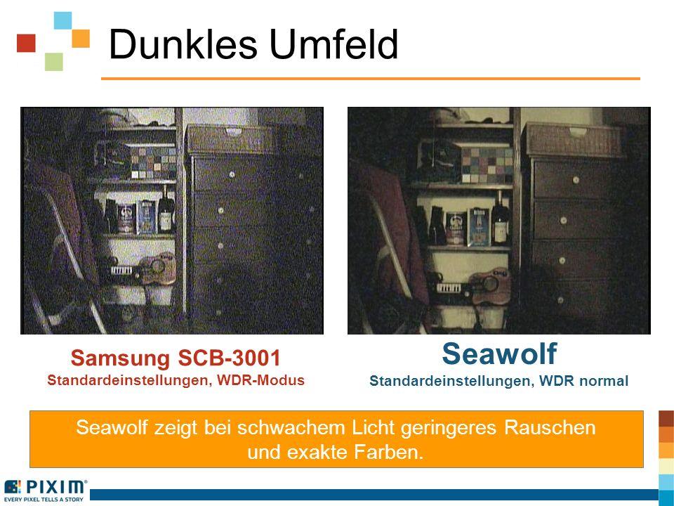Sehr dunkles Umfeld Samsung SCB-3001 Standardeinstellungen Seawolf Standardeinstellungen, WDR normal Seawolf liefert die besten Schwarzweißbilder bei sehr wenig Licht.