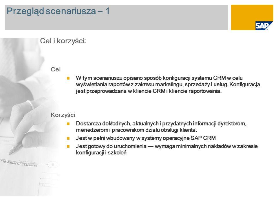Przegląd scenariusza – 2 Wymagane SAP CRM 2007 Zaangażowane role firmy Użytkownik biznesowy odpowiedzialny za analizę danych Wymagane aplikacje firmy SAP: Więcej informacji na temat scenariusza opisanego w tym dokumencie można uzyskać dzięki głównym raportom przedstawionym na kolejnych slajdach: