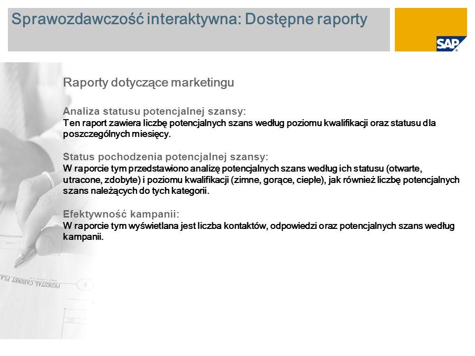 Sprawozdawczość interaktywna: Dostępne raporty Raporty dotyczące marketingu Analiza statusu potencjalnej szansy : Ten raport zawiera liczbę potencjalnych szans według poziomu kwalifikacji oraz statusu dla poszczególnych miesięcy.