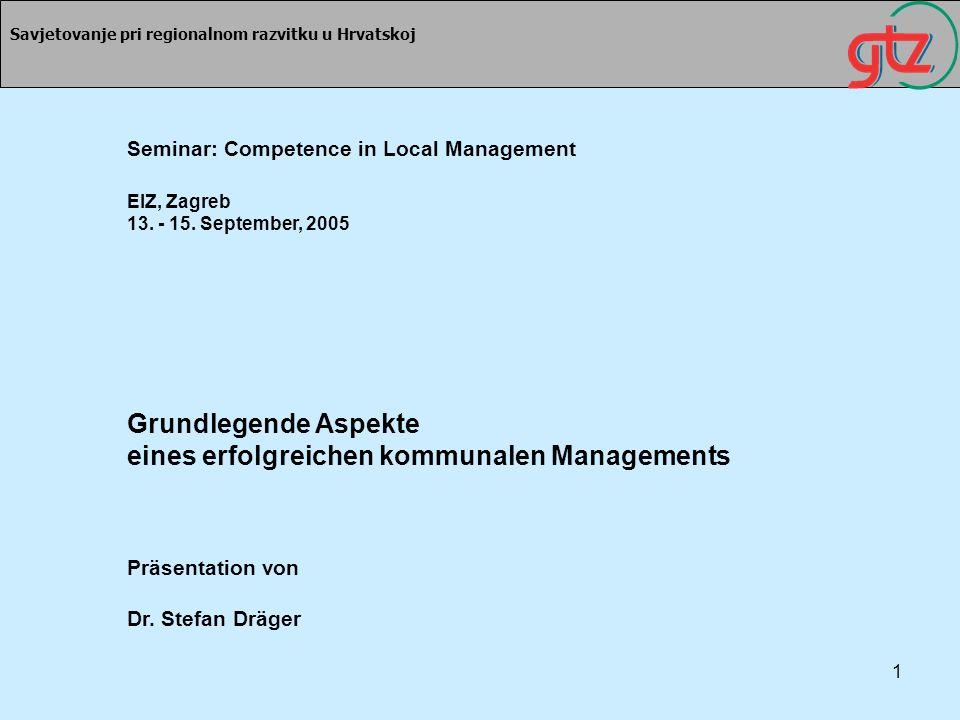 1 Savjetovanje pri regionalnom razvitku u Hrvatskoj Seminar: Competence in Local Management EIZ, Zagreb 13. - 15. September, 2005 Grundlegende Aspekte
