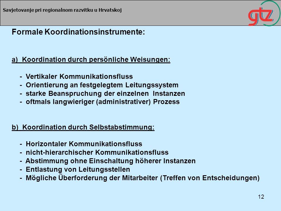 12 Savjetovanje pri regionalnom razvitku u Hrvatskoj Formale Koordinationsinstrumente: a) Koordination durch persönliche Weisungen: - Vertikaler Kommu