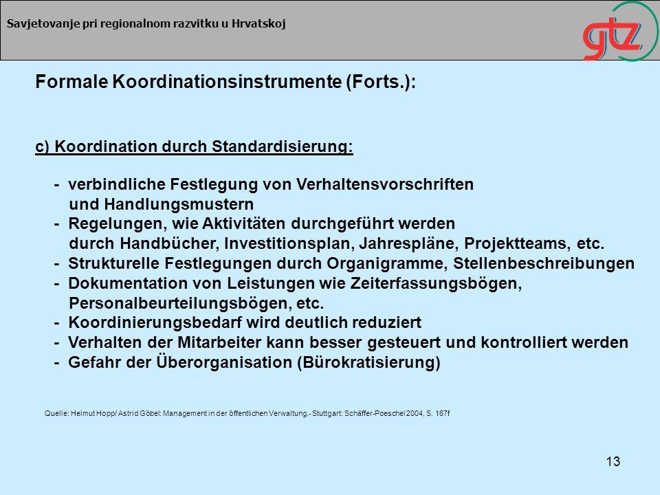 13 Savjetovanje pri regionalnom razvitku u Hrvatskoj Formale Koordinationsinstrumente (Forts.): c) Koordination durch Standardisierung: - verbindliche