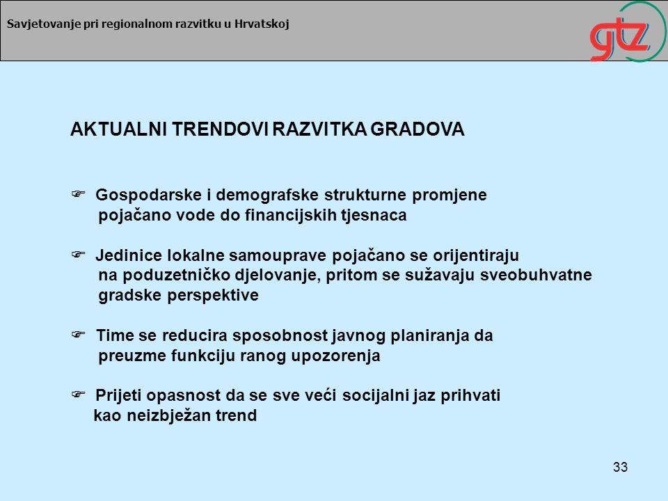 33 Savjetovanje pri regionalnom razvitku u Hrvatskoj AKTUALNI TRENDOVI RAZVITKA GRADOVA Gospodarske i demografske strukturne promjene pojačano vode do