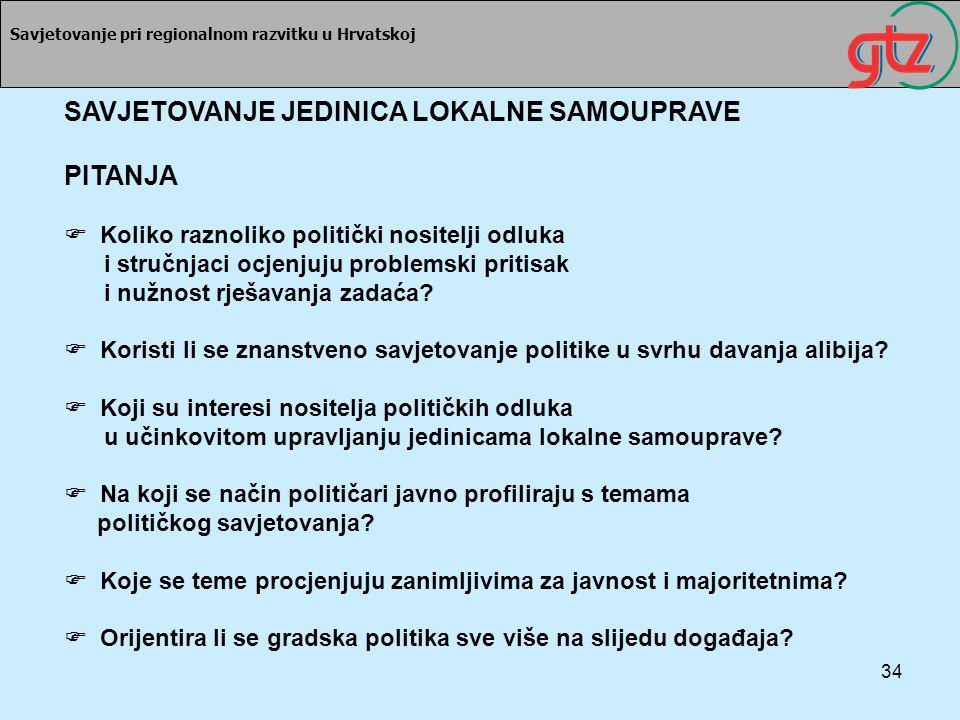 34 Savjetovanje pri regionalnom razvitku u Hrvatskoj SAVJETOVANJE JEDINICA LOKALNE SAMOUPRAVE PITANJA Koliko raznoliko politički nositelji odluka i st