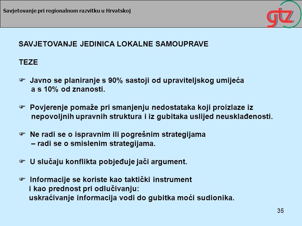 35 Savjetovanje pri regionalnom razvitku u Hrvatskoj SAVJETOVANJE JEDINICA LOKALNE SAMOUPRAVE TEZE Javno se planiranje s 90% sastoji od upraviteljskog