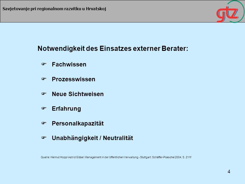 4 Savjetovanje pri regionalnom razvitku u Hrvatskoj Notwendigkeit des Einsatzes externer Berater: Fachwissen Prozesswissen Neue Sichtweisen Erfahrung