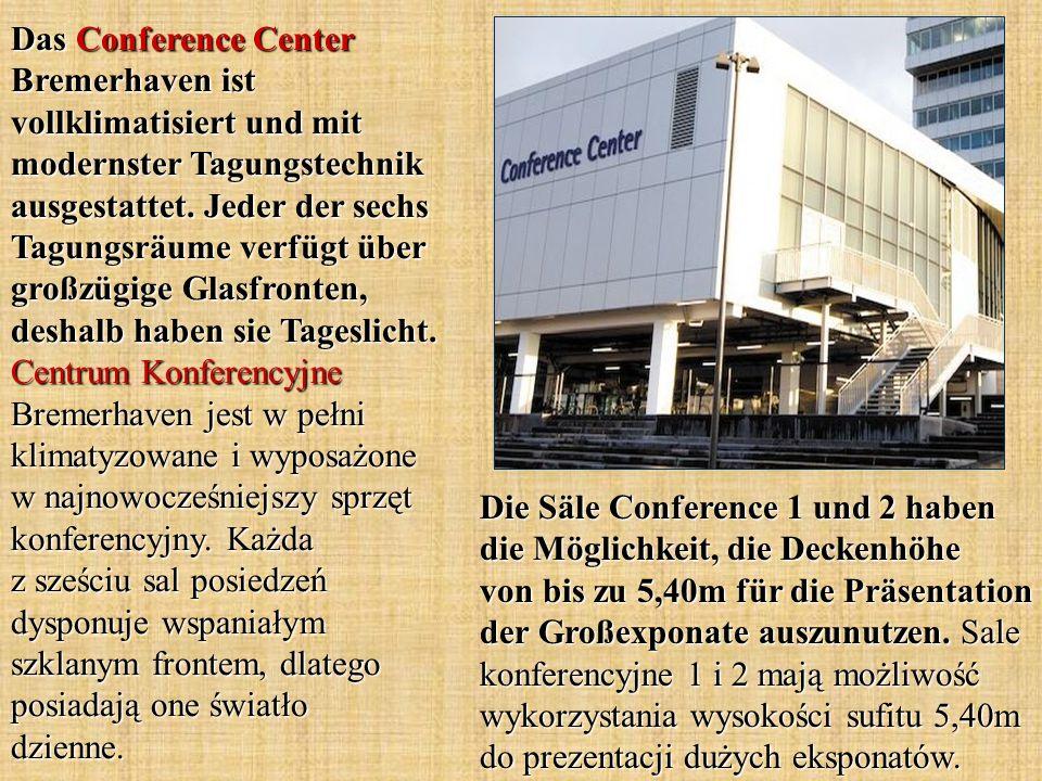 Das Conference Center Bremerhaven ist vollklimatisiert und mit modernster Tagungstechnik ausgestattet. Jeder der sechs Tagungsräume verfügt über großz