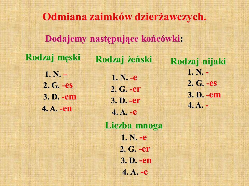 Odmiana zaimków dzierżawczych. Dodajemy następujące końcówki: Rodzaj męski 1. N. – 2. G. - es 3. D. - em 4. A. - en Rodzaj żeński 1. N. - e 2. G. - er